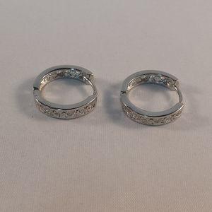 Jewelry - 18K White Gold Filled Carved Hoop Huggie Earrings